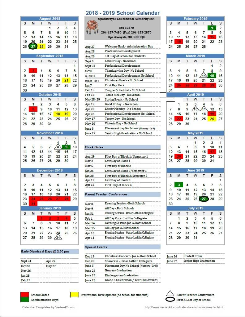 School Calendar Opaskwayak Educational Authority Inc
